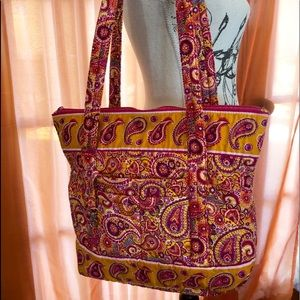 Orange Pink Paisley Quilted Cotton 9 Pocket Tote